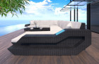 Wicker Patio Sofa Hollywood U Shaped with LED black-beige