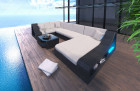 Patio Furniture Outdoor Sofa New York with Lights black-beige
