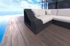 Wicker Patio Sofa New York U Shaped with LED black-beige