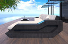 Wicker Patio Sofa Hollywood L Shaped with LED black-beige