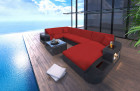 Wicker Patio Sofa Jacksonville U with LED black-red