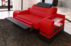 Armchair Orlando with relax function in leather color red-black