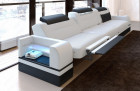 3 Seat Leathersofa San Francisco LED (white-black)