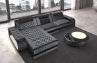 Elegant Luxury Couch Berlin L with USB and Ottoman - dark grey Sun Velvet 1030