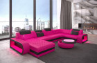 Designer sofa with lights U Form Chesterfield Ottoman Charlotte - color pink
