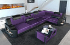 elegant corner sofa Manhattan L with LED lighting in velvet Sun Velvet 1028 - purple
