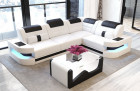 Luxury Sofa Couch modern Denver L-Shape with lights - white-black