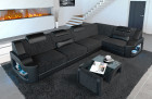 Sofa Manhattan L with structured fabric Hugo 12 - black-grey and LED lighting