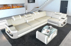 Sofa Couch Manhattan leather with LED lighting and headrests beige - white