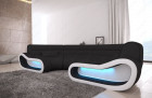 Modular Sectional Sofa Concept U Shape with LED lights - black Fabric Mineva 14