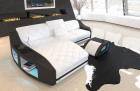 Modern leather couch Swing with LED lighting and ottoman in white - black