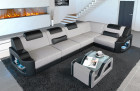 Fabric Sofa Manhattan L with LED lighting in fabric Hugo 2 - macchiato