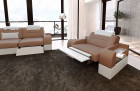 Seating area three- and two-seater San Francisco with relax function LED - cappuccino Mineva 21