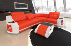 Corner sofa Couch Columbia LED lighting in orange - white