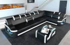 Luxury couch corner sofa Manhattan with LED lighting in black - white