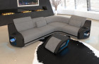 Columbia corner couch with shelves in fabric microfibre Mineva 12 - light grey