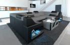 Sectional sofa Manhattan U fabric sofa with adjustable headrests in structured fabric Hugo 5 - grey