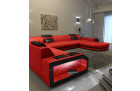 xxl leather sofa ottoman modern design rot