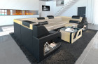 Modern luxury sectional sofa Manhattan U shape with adjustable headrests in velvet Sun Velvet 1001 - creme