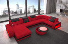 fabric sectional sofa Charlotte Ottomane quilted lighting - red Mineva 20