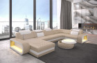 Leather sofa sectional Sofa Chesterfield Optik Charlotte U Form - beige leather