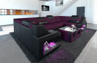 Couch Manhattan U Form with LED lighting in microfibre Mineva 13 - purple