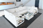 Sectional Sofa Design Leather sofa Manhattan white-beige with LED lights