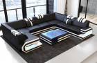 Modern Leather Sofa San Antonio With LED Lights black-white