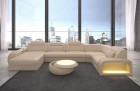 Leather sectional sofa Chesterfield Charlotte U shape - beige leather