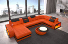 Leather sofa U shape Chesterfield Ottoman Charlotte LED - orange leather