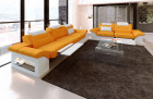 Fabric Chicago microfibre couch set with recliner LED - orange Mineva 16