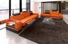 Sectional Sofa 3 and 2 seater Orlando LED orange-black