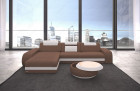 Couch Charlotte L form with ottoman microfibre - light brown Mineva 5