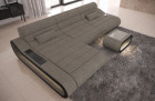 Modern Sectional Sofa Concept LED lights - Structured Fabric Hugo 4