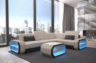 Design Sectional Sofa Seattle LED lights and USB - Fabric Hugo 1