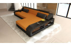 Sofa Couch modern L Shape with Ottoman - Microfiber orange Mineva 16