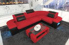 Big Luxury Sofa with LED lights - red Fabric Mineva 20