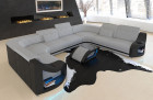 sectional sofa Columbia with headrests in microfibre Mineva 2 - alaska grey