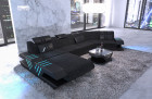 Design Sectional Sofa Beverly Hills C shape woven fabric black-grey Hugo 12