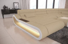 Luxury Sectional Sofa Concept LED lights - Fabric Microfibre beige Mineva 4