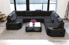 Sofa Big Couch with LED lights - dark-grey Fabric Hugo 12