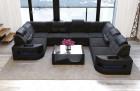 Sofa Big Couch with LED lights - dark-grey Fabric Hugo 12