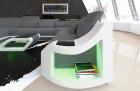 Designer sofa Palm Beach XXL with Recamiere in Hugo 5 - grey