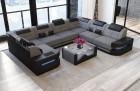 Corner Sofa with LED lights - Structured Fabric Hugo 5