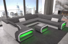 Designer Fabric sofa Seattle U in structured fabric Hugo 5 - grey