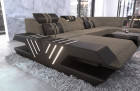 sectional sofa fabric leather mix sofa Beverly Hills XXL structured fabric gray - Hugo 4
