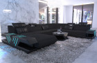 Designer sectional sofa fabric sofa Beverly Hills XXL woven material black - Hugo 14