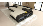 Design Luxury Couch with LED lights - light grey structured Fabric Hugo 2