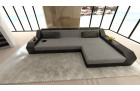 Design Luxury Couch with LED lights - grey Fabric Hugo 5