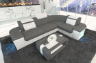 Design Sectional Couch and LED lights - grey Fabric Hugo 5